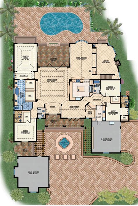 Mediterranean House Plan by Floor Plan Of Coastal Contemporary Florida Luxury