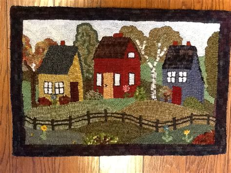 searsport rug hooking hooked rug my version of searsport rug hooking s pattern quot town quot rug hooking