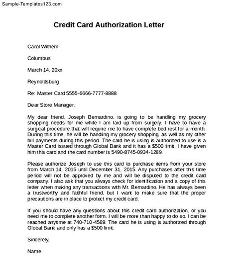 authorization letter sle to use proof of billing authorization letter format for credit card credit card