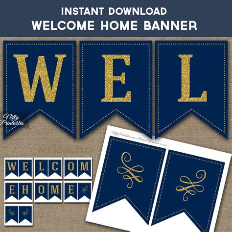 printable home banner printable welcome home banner navy blue gold