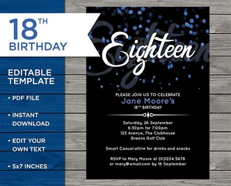 18th Birthday Invitation 18th Birthday Invitation Template 18th Birthday Invitation Templates