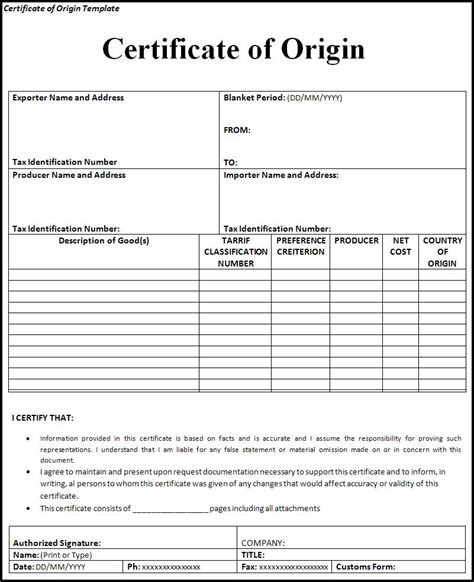 generic certificate of origin template certificate of origin template word templates