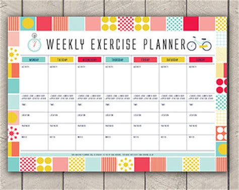 printable exercise organizer items similar to abstract floral planner add on kit pdf