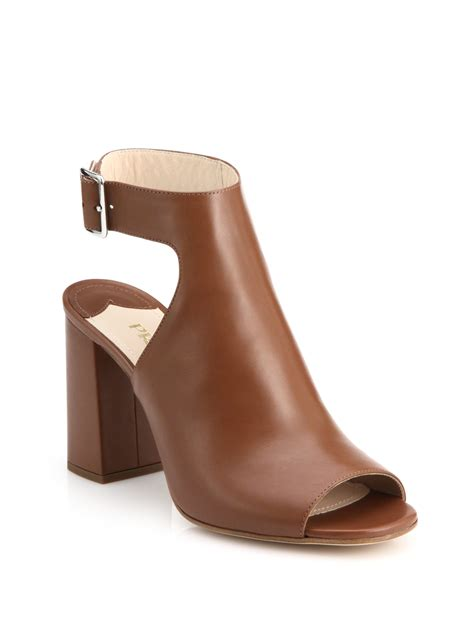 prada open toed leather ankle boots in brown lyst
