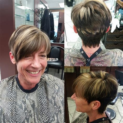pixie blonde hair with brown low lights dark brown base color with heavy light blonde highlights