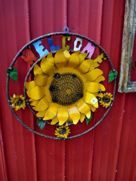 Welcome Sunflower Metal Sign