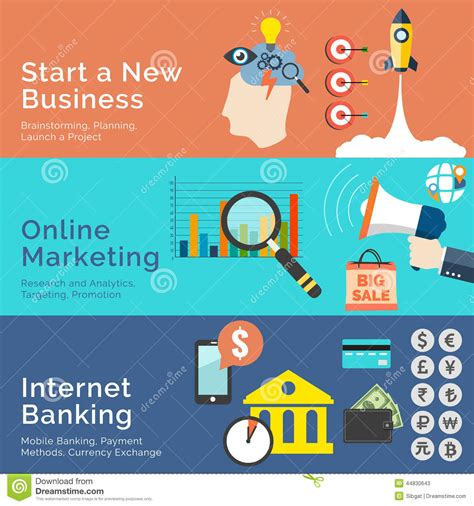 design online market set of flat design concepts start a new business online
