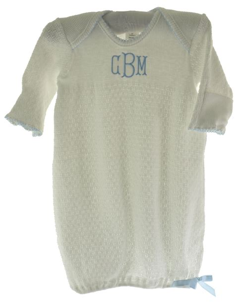 baby boy gowns infant boys white monogrammed gown with blue trim paty inc