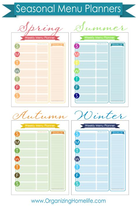 organized home printable menu planner free menu planning printable organize your kitchen