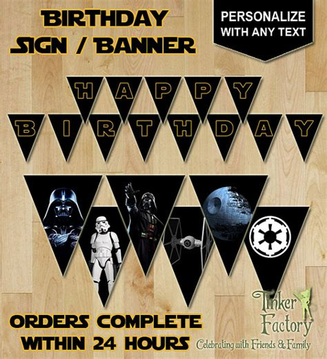 printable star wars happy birthday banner star wars darth vader party personalized happy birthday