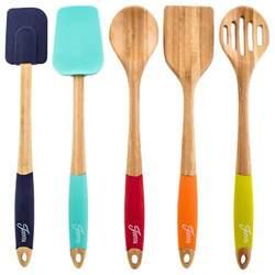 5 bamboo silicone utensil set contemporary