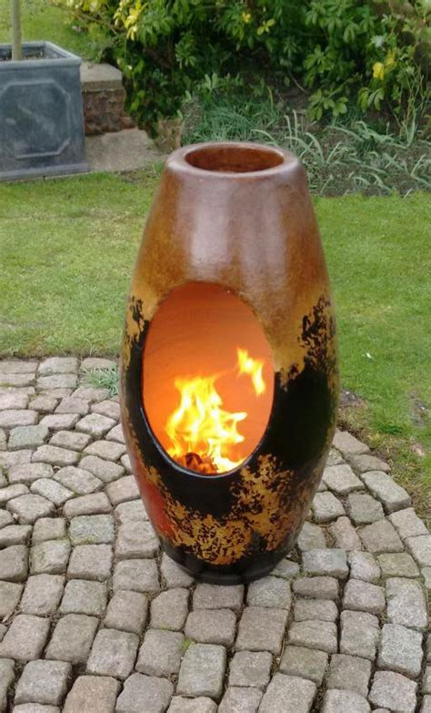 modern art clay chimenea garden sculpture clay chiminea