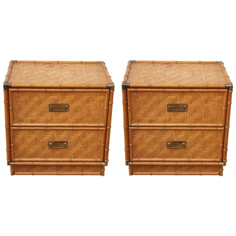 Rattan Nightstands 1950 rattan wrapped bamboo brass framed two drawer geometric nightstands at 1stdibs