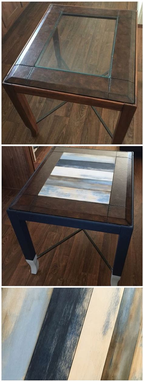chalk paint glass table replaced glass top end table with wood panels and