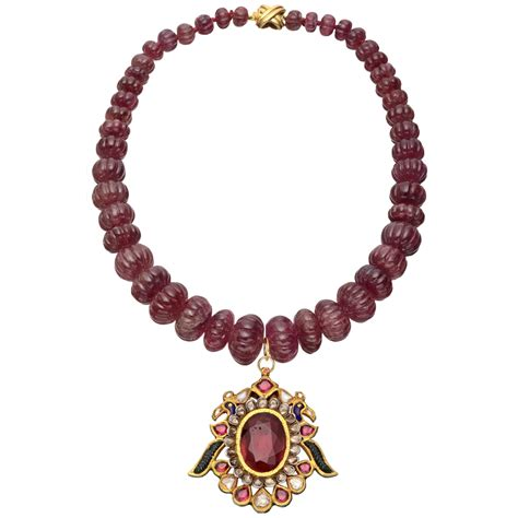 indian bead necklace ruby bead necklace with gem set indian pendant betteridge