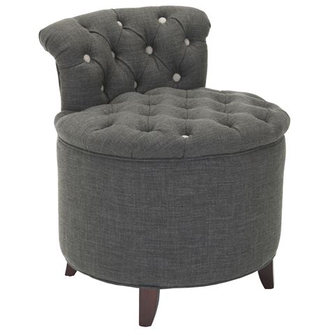 Dark Gray Upholstered Button Tufted Bathroom Vanity Chair Vanity Bathroom Chairs