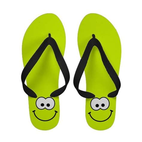 abby emoticon flip flop happy smiley lime green flip flops smiley
