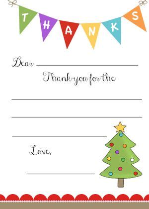 Do You Send Thank You Cards For Christmas Gifts - kid s christmas thank you note free printable cute idea for sending thank you notes