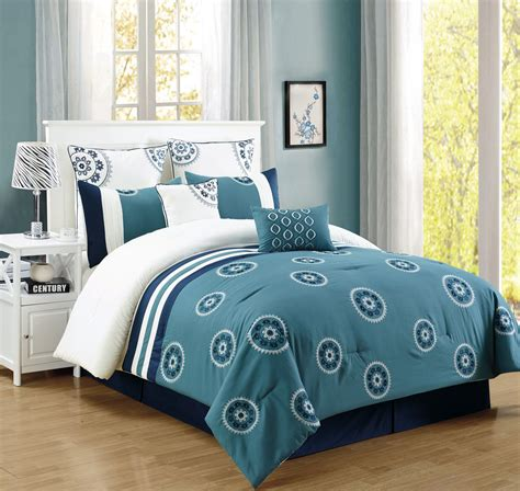 blue queen comforter sets 8 piece brella capri blue comforter set