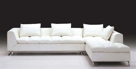 Luxurious White Leather L Shaped Sofa With Chromed Metal White Sofa
