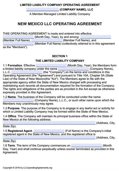 New Mexico Llc Operating Agreement Template New Mexico Multi Member Llc Operating Agreement Free Llc Operating Agreements Free Llc