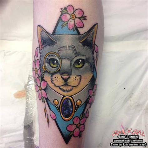 neo trad cat tattoo arm fantasy cat tattoo by rock n roll