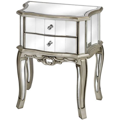 two drawer bedside table argente mirrored two drawer bedside table from baytree