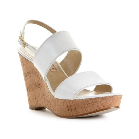 tracy platform wedge sandals in white white