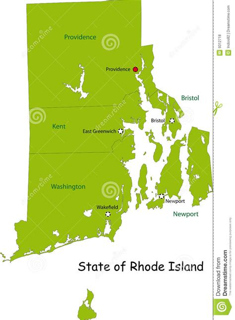 rhode island on map map of rhode island state stock vector image of national
