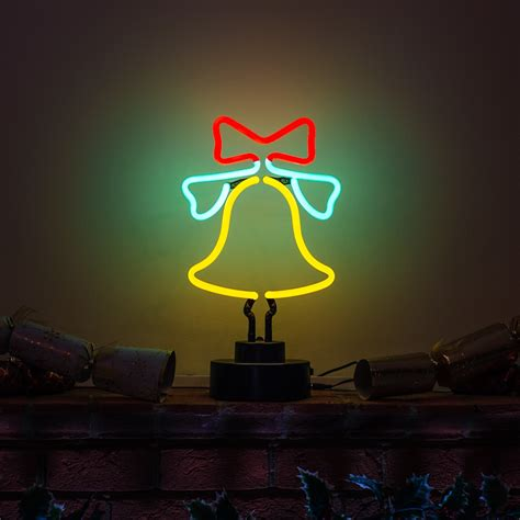 neon christmas decorations festive table decoration bell neon sculpture icon neon