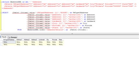 xml tutorial in sql server 2008 not getting xml parsed values using nodes method in sql