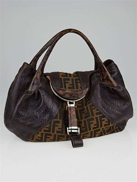 Hiltons Fendi Purse by Fendi Tobacco Zucca Canvas And Tortoise Leather Bag