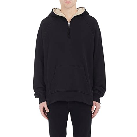 Sweater Hoodie Fear Of God Black Premium lyst fear of god half zip hoodie in black for