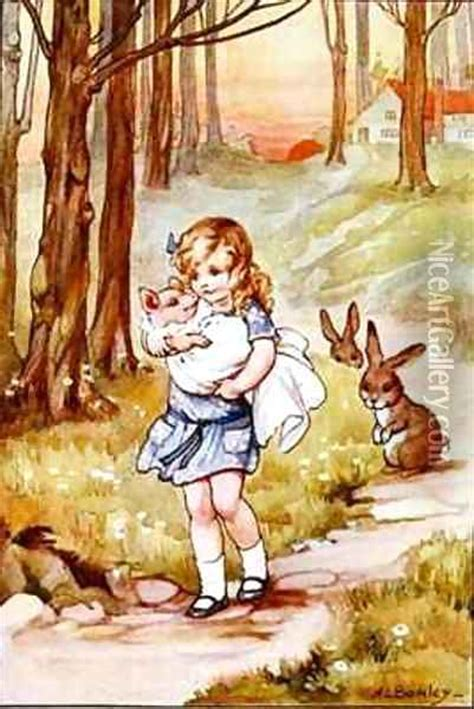 alice and the pig baby alice and the pig baby oil painting reproduction by a l bowley niceartgallery com