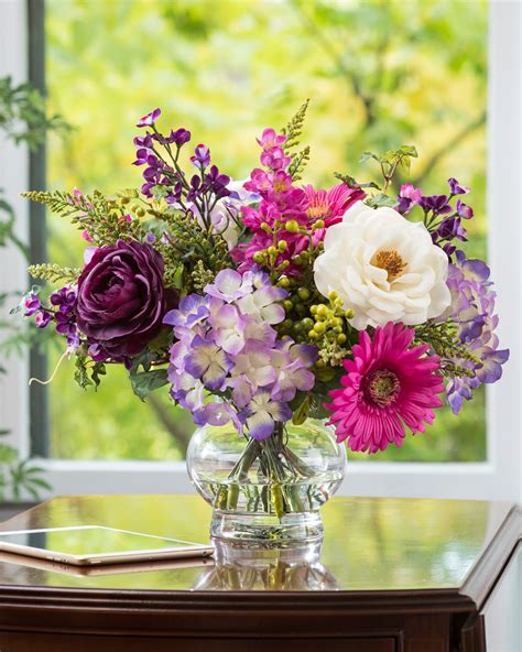 18 Cylinder Vase Romantic Gerbera Hydrangea Amp Rose Silk Arrangement At Petals