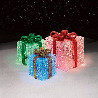 3 Light Up Gift Box Decorations Cheerful Holiday Outdoor Presents With Lights