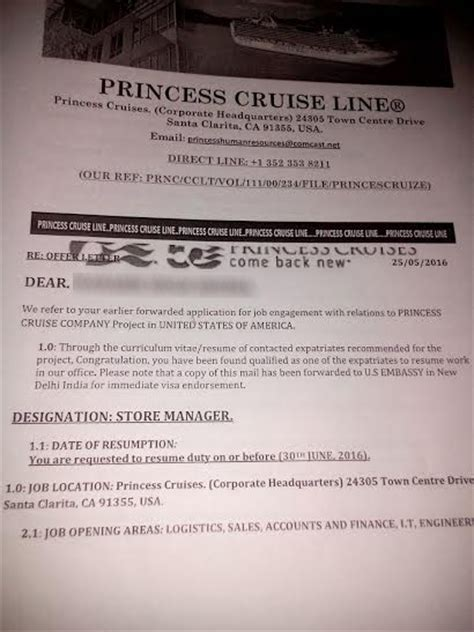 Spot Offer Letter In Bangalore Offer Scam In India Beware Of Employment Letter From Princess Cruise Line In Us