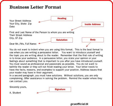 layout of formal letter exle business letters