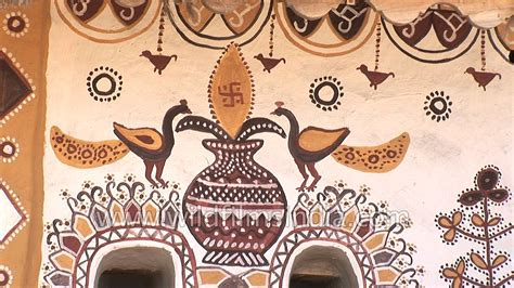 How To Paint A Mural On A Wall mud wall painting at ludiya village rann of kutch youtube