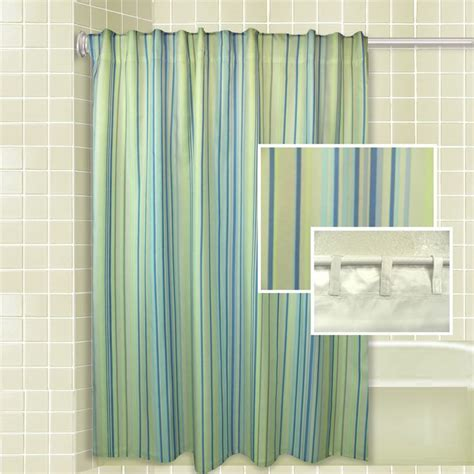 Green Blue And Yellow Striped Shower Curtain Useful