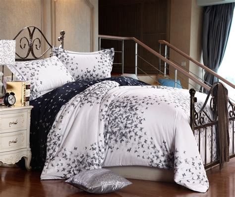 black white butterfly satin wedding comforter bedding set