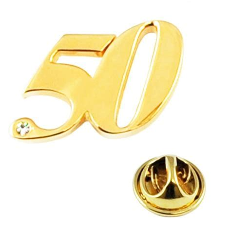 Number 50, 50th Birthday Golden Wedding Lapel Pin Badge