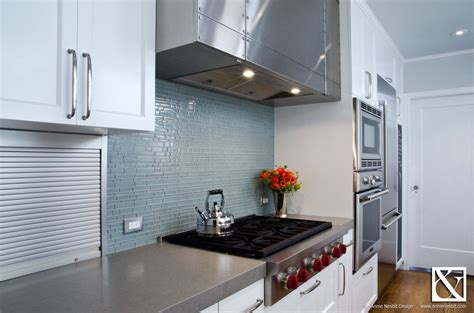 Concrete Countertop Backsplash Concrete Countertops And Glass Tile Backsplash In Modern
