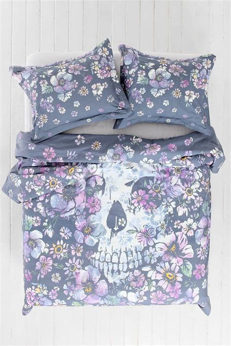 Plum Quilt Covers by Plum Bow Skull Flower Duvet Cover