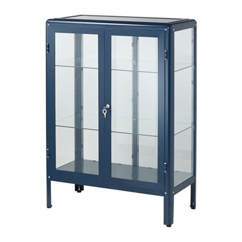 Glass Door Display Cabinet Ikea Fabrik 214 R Vitrine Bleu Ikea