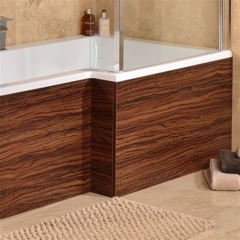 Bath And Shower Showrooms 1670 walnut l shaped shower bath panel
