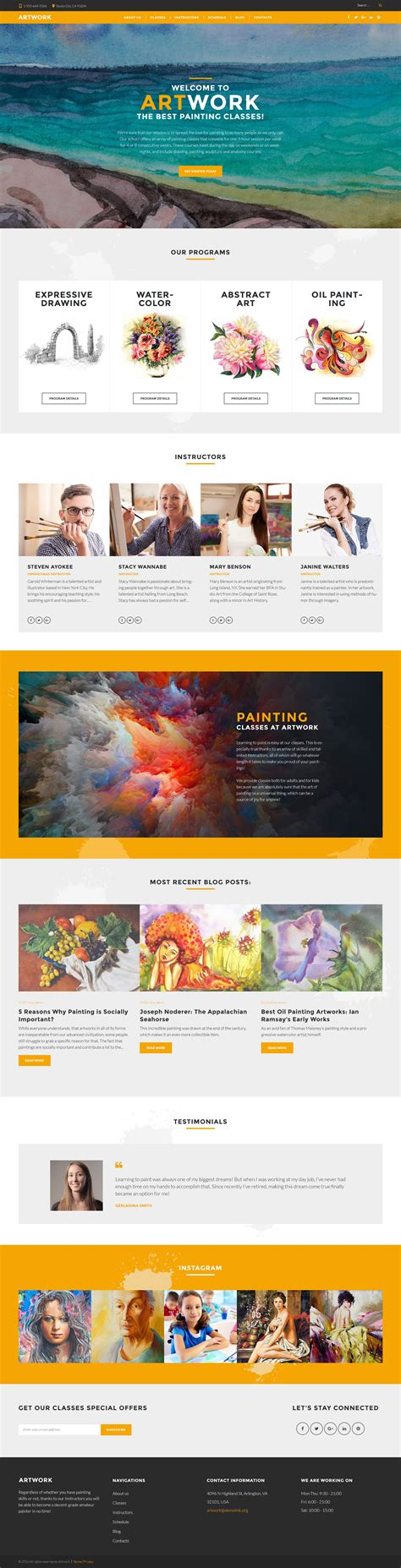 art school templates archives zemez wordpress