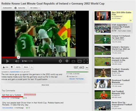 first youtube layout ever incredible comment on youtube video of robbie keane s 2002