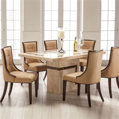 venice marble dining table and 6 chairs