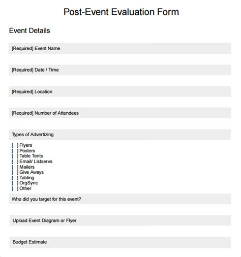 event form template event evaluation form 9 free documents in pdf